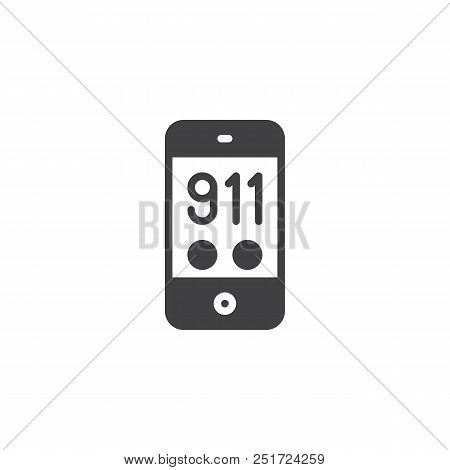 911 emergency call vector icon. filled flat sign for mobile concept and web design. 911 call mobile phone simple solid icon. Symbol, logo illustration. Pixel perfect vector graphics stock photo