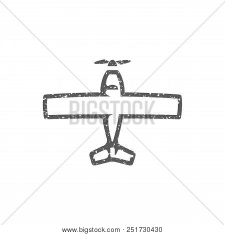 Vintage Airplane icon in grunge texture. Vintage style vector illustration. stock photo