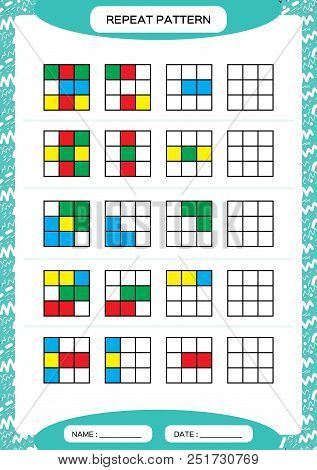 Repeat pattern. Cube grid with colorfull squares. Special for preschool kids. Worksheet for practicing fine motor skills. Improving skills tasks. Blue A4. Snap game. Vector stock photo
