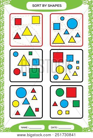 Sort by Shapes. Sorting Game. Group by shapes - square, circle, triangle. . Special sorter for preschool kids. Worksheet for practicing fine motor skills. Improving skills tasks. A4. green Vector stock photo