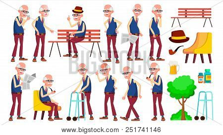 Old Man Poses Set Vector. Elderly People. Senior Person. Aged. Funny Pensioner. Leisure. Postcard, Announcement, Cover Design Isolated Cartoon Illustration stock photo