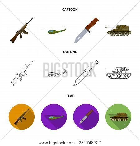 Assault rifle M16, helicopter, tank, combat knife. Military and army set collection icons in cartoon, outline, flat style vector symbol stock illustration . stock photo