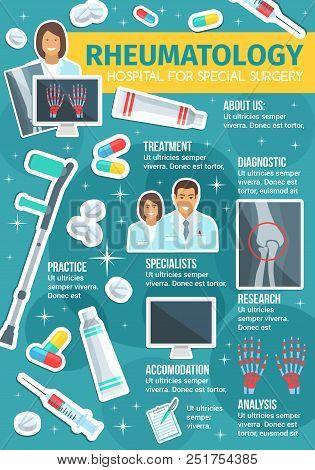 Rheumatology medicine or rheumatologist doctor clinic poster. Vector medical design of joint and bones X-ray, arthritis and trauma crutches, osteoporosis disease diagnostics, nurse and treatment pills stock photo