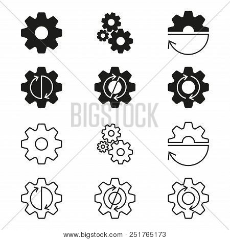 Gears, cogs wheels or sprocket icon set. Gear wheels with arrows. Vector illustration. stock photo
