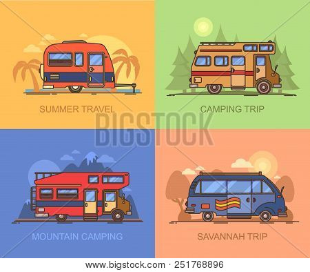 Set Of Auto Transport For Holiday Recreation Or Vacation. Van For Savannah Trip. Lorry, Truck For Mo