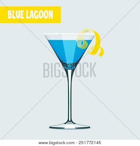 Blue lagoon cocktail in martini glass vector illustration. Poster, design element with famous martini cocktail with decoration stock photo