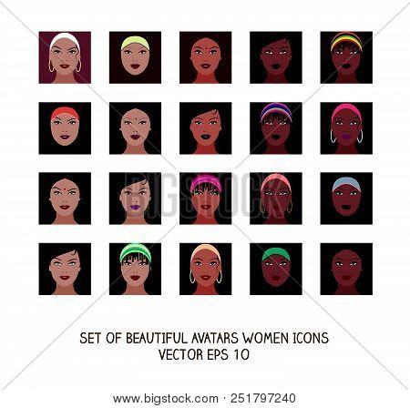 Avatars of beautiful Latina, Arab and African American girls stock photo