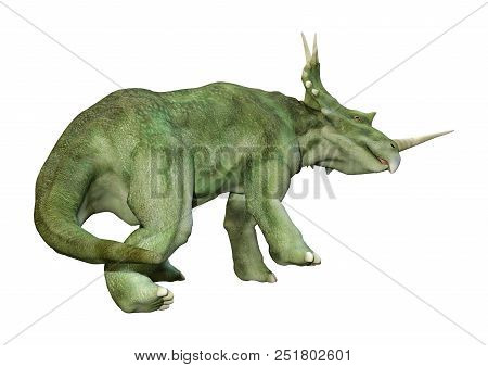 3D rendering of a dinosaur Styracosaurus or spiked lizard, a genus of herbivorous ceratopsian dinosaur from the Cretaceous Period (Campanian stage) isolated on white backround stock photo