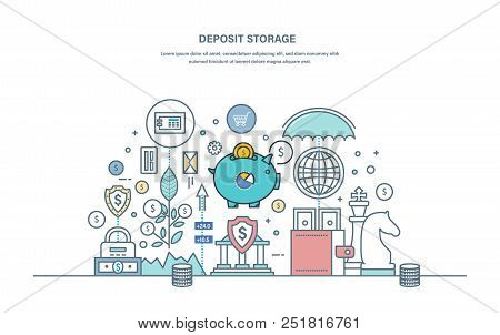 Deposit storage. Saving, protection of finance, cash money. Contribution, bank investments, insurance payments. Safe storage of currency, coins, precious metals. Illustration thin line vector doodles stock photo