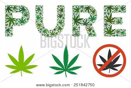 Pure caption collage of weed leaves in various sizes and green variations. Vector flat grass elements are composed into Pure caption collage. Narcotic vector design concept. stock photo