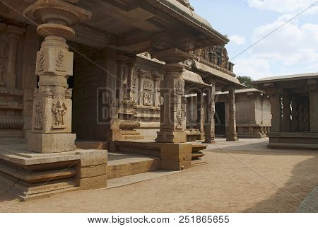 South west view of the Hazara Rama Temple. Royal Center. Hampi, Karnataka, India. From left side, south, porch of the ardhamandapa, pillars of the open mandapa and the main entrance to the temple stock photo