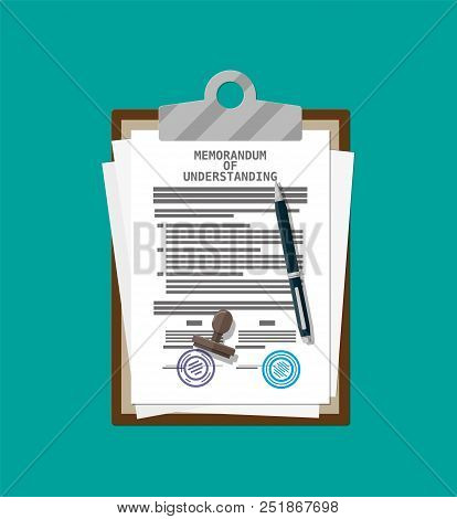 Clipboard with memorandum of understanding document. Mou legal papers. Contract agreement paper blank with seal. Ballpoint pen. Vector illustration in flat style stock photo