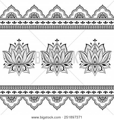 set of mehndi lotus flower pattern and seamless border for henna abstract mightylinksfo