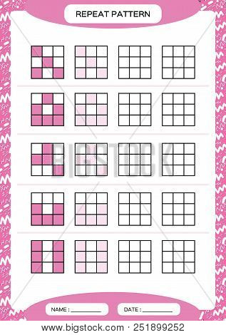 Repeat purple pattern. Cube grid with squares. Special for preschool kids. Worksheet for practicing fine motor skills. Improving skills tasks. A4. Snap game. 3x3. Vector stock photo