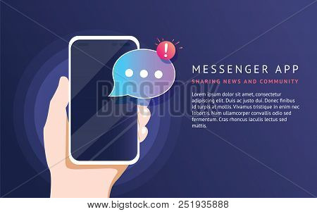 Mobile messenger app for texting messages to friends. Concept flat neon vector illustration of human hand holds smartphone with speech bubble on application for texting, sharing news and community stock photo