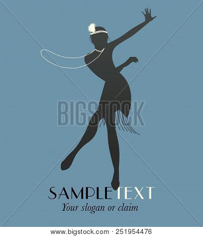 Silhouette of funny flapper girl silhouette dancing charleston stock photo