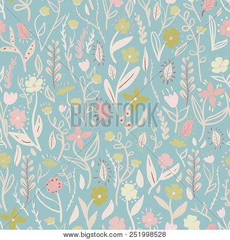 Meadow. Wildflowers pattern. Hand drawn Floral pattern. Seamless vector texture. Elegant template for fashion prints. Surface with meadow flowers and herbs. stock photo