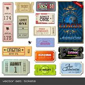 vector set: tickets in diverse styles