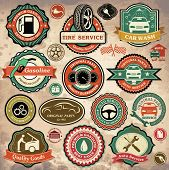 Collection of vintage retro grunge auto marks, identifications and symbols