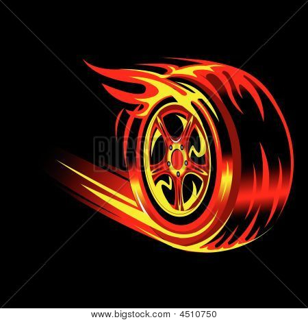 flaming vector wheel in black background. Speed and racing concept stock photo
