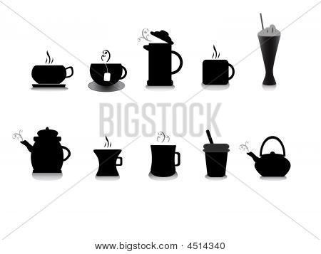 tea and coffee illustrations black on white background stock photo