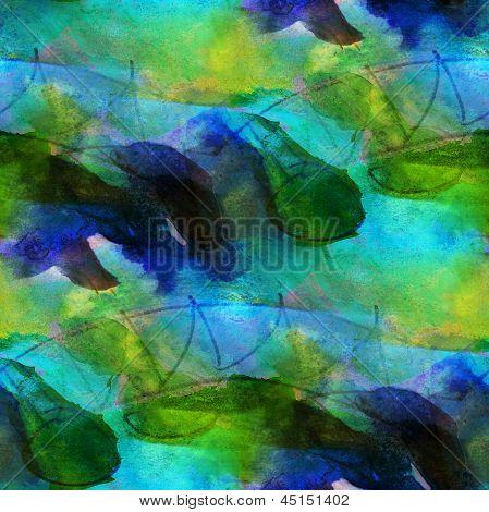 Art transparente bleu, vert texture, fond aquarelle rose abs