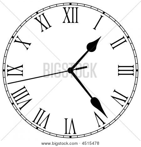 clock-face with roman numerals and clock hands stock photo