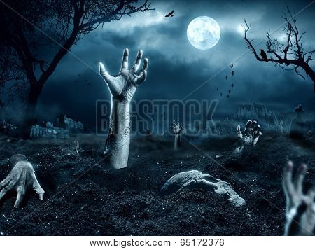 Zombie hand leaving his grave