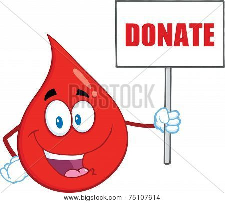 Red Blood Drop Cartoon Mascot Character Holding Up A Blank Sign With Text Donate stock photo