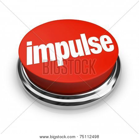 Impulse word on a round, red 3d button to illustrate making an emotional, passionate choice based on feeling when shopping or reaching a decision stock photo