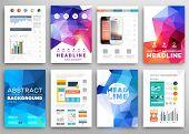 Set of Flyer, Brochure Design Templates. Geometric Triangular Abstract Modern Backgrounds. Portable