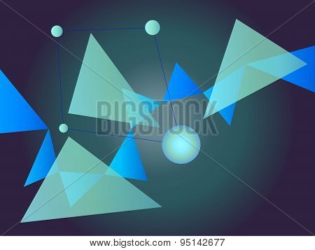 Blue and Green Abstract Geometric Shape Vector Background with Spheres and Triangles on Dark Gradient stock photo