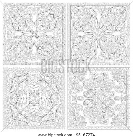 unique coloring book square page set for adults - floral authentic carpet design, joy to older children and adult colorists, who like line art and creation, vector illustration stock photo