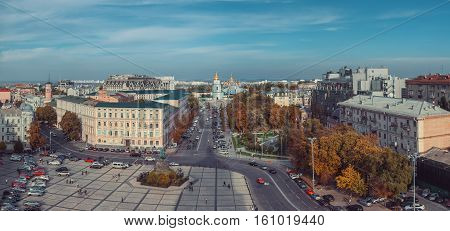 View from Bell tower of St Sophia Cathedral on Sophia Square St Michael Golden domed monastery and Bohdan Khmelnitsky monument. Kiev Ukraine. stock photo