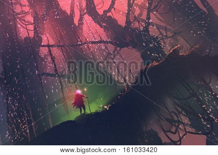 man with magic pole walking on giant tree in enchanted forest, illustration painting stock photo