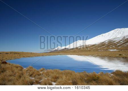 Mount Cook Region - New Zealand - Above Pukaki River stock photo
