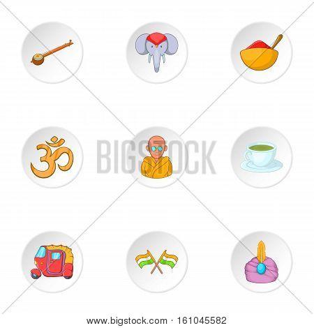 India icons set. Cartoon illustration of 9 India vector icons for web stock photo