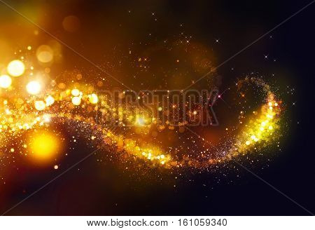Golden Christmas and New Year glittering stars swirl on black bokeh background. backdrop with sparkl