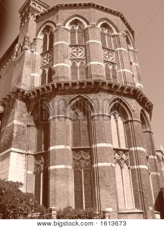 Italian church tower with sepia effect - Venice - Italia. ** Note: Slight graininess, best at smaller sizes stock photo