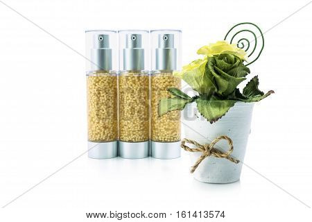 Moisturizing serum for face and body care concept : bottles of creams lotions or cosmetic cream with isolated on white background. stock photo