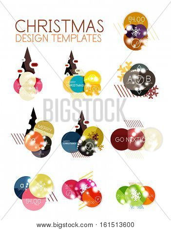 Vector Christmas label or price tag stickers with light effects stock photo