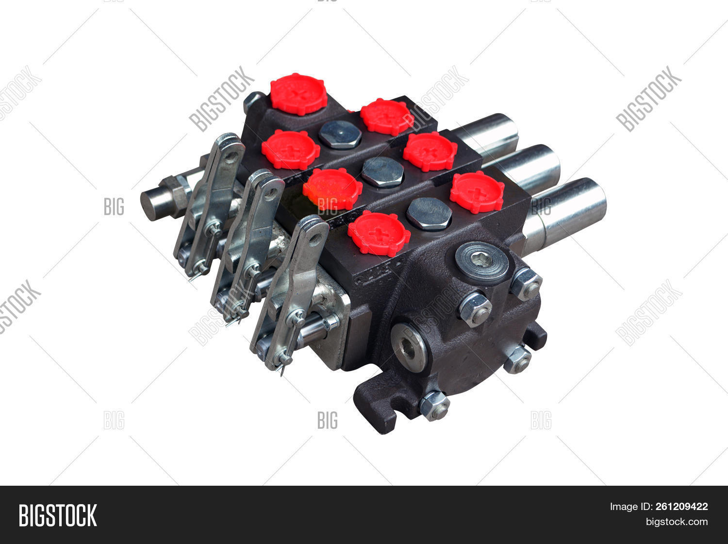 hydraulic distributor of the tractor on isolated white background