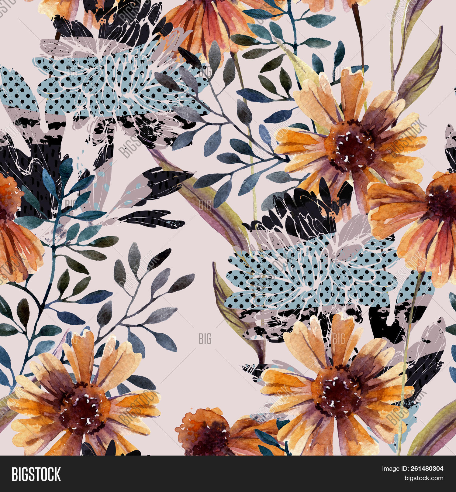 Autumn Background Abstract Floral Seamless Pattern Watercolor