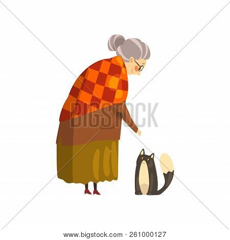 Cute granny and her black cat, lonely old lady and her animal pet vector Illustration on a white background stock photo