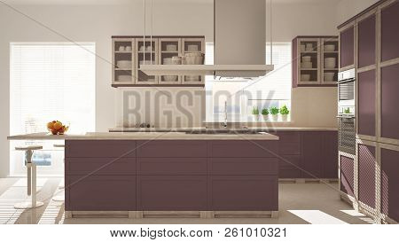 Modern wooden and red purple kitchen with island, gas stove and sink, parquet herringbone floor, architecture minimalistic interior design, 3d illustration stock photo