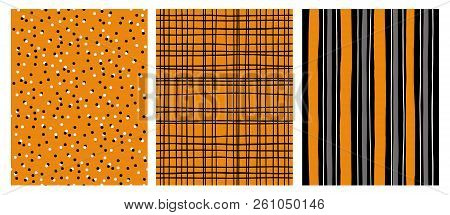 Hand Drawn Infantile Style Vector Patterns.Orange,Gray and Black Stripes  on a White Background. Black Grid On an Orange Backround.White and Black Dots on an Orange Background. Cute Simple Design. stock photo
