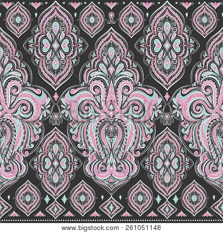 Beautiful floral seamless pattern. Vintage vector, paisley elements. Traditional,Turkish, Indian motifs. Great for fabric and textile, wallpaper, packaging or any desired idea. stock photo