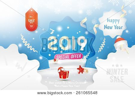 Winter Sale 25 off. Happy new year 2019 Long greeting card template with gift box and snowdrifts on blue background with special offer. Creative banner with ribbons and light effects. Flat vector illustration EPS10. stock photo