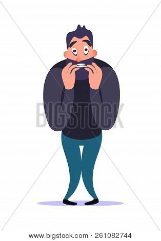 Stressful nervous bearded cartoon man bites nail with fear and concern, demonstrates his anxiety disorder. Mental ill concept. Male character tension and afraid. Psychology problems. stock photo