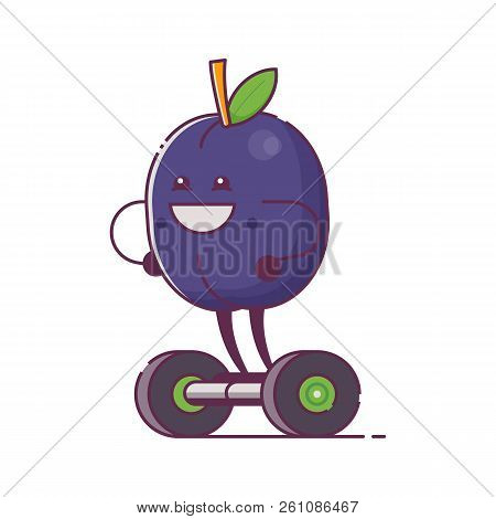 Humanized fruit character on hoverboard icon. Quirky cartoon plum riding self-balancing gyro scooter. Smiling vegan mascot ride electric scooter. stock photo